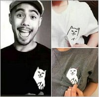 Wholesale cheap white tee shirts - T-Shirts For Men And Women ZSIIBO Pocket Cat Cheap Fashion Brand New Men's T-Shirts Short Sleeve O-neck Tops Tees 5 size