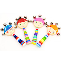 Wholesale baby rattle color resale online - Baby Rattles Toy Baby Kids Infant Handbells Cartoon Wood Early Education Developmental Music Rattle Toys Random color