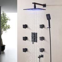 Wholesale Bath Shower Mixer Taps - Blacken Bathroom Shower Faucet Set 250X250 LED Temperature Sensitive Rainfall Shower Head Bath & Shower Mixer Tap