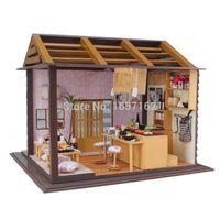 Wholesale japanese model dolls - Sakura Sushi Bar Japanese zakka style DIY Doll house 3D Miniature LED light+Wood&Metal assembled Handmade kit Building model