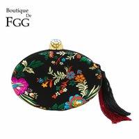 chinese clutch bags 2018 - Boutique De FGG Chinese Style Embroidery Flower Women Black Satin Evening Bag Tassel Clutch Purse Wedding Party Shoulder Handbag