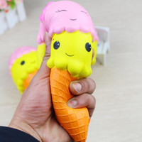 Wholesale facing giants - Giant 18cm Smile Face Ice Cream Squishy Double Head Torch Slow Rising Cone Jumbo Squeeze Decompression Toys 2018