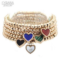 ingrosso braccialetti d'amore in rilievo di colore-FYSARA Double Side Color Charm Charm Strand Strand Bracciali Braccialetti Donna Bracciale in acciaio inossidabile Love Beaded Bracciali