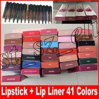 Wholesale full lips resale online - 41 color Liquid Lipstick Kit Matte Lip Gloss Kit by Jenner Lipstick with Lip Liner Pencil Makeup