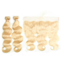 Wholesale blonde hair for sale - Brazilian Virgin Hair Blonde Body Wave Human Hair Weave Bundles With Lace Frontal Ear To Ear Lace Frontal With Baby Hair