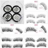 Wholesale eyelashes handmade long - 3D magnetics false lashes magnetic eyelashes with 3 magnets Thick natural long Eye Makeup Eyelashes Extension handmade fake Eyelashes