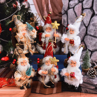 Wholesale wholesale kids holiday toys online - 16cm Merry Christmas Plush Doll Stuffed Santa Claus Model Dolls Novelty Toys Kids Holiday Gift Xmas Ornament Home Decoration AAA1298