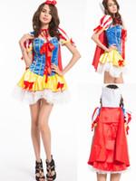 traje de disfraces blanco como la nieve al por mayor-Envío gratis Nuevo estilo para mujer princesa Snow White Fairy Tale disfraces fiesta de Halloween trajes atractivos