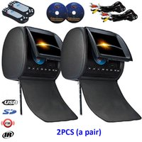 Wholesale german dvd player - 2x 9inch Car DVD Player Headrest Pillow with USB SD FM IR Game Remote Control Rear-Seat Entertainment