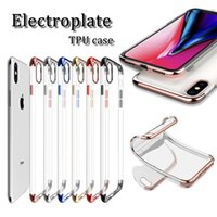 Wholesale vivo case - high quality ultra-thin electroplate TPU cellphone case transparency back cover for iphone x 6 7 8 plus samsung vivo smart cellphone