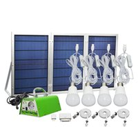 Wholesale emergency portable mobile charger - 30W Solar Panel Lighting Kit Solar Home DC System USB Solar Charger Power with 4 LED Light Bulbs Emergency Light with 5 Mobile Phone Charger