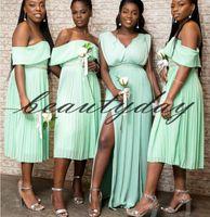 eisblau meerjungfrau kleid großhandel-Ice Blue Brautjungfer Kleider 2019 neue afrikanische nigerianische Trauzeugin Kleider formale Hochzeit Party Guest Kleid Vestidos de Fiesta Plus Größe