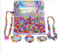 juguetes educativos al por mayor-Mezclado 600 unids Diy Loose Acrylic Beads para Kid Girls Accesorios Collar Pulsera Diy Beads Building Kit Set Educativos juguetes de desarrollo