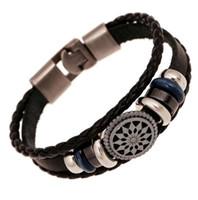 matériaux de bijoux faits à la main achat en gros de-2018 auto design usine vente directe bracelet de perles rétro en cuir véritable matériel tissage en gros main multicouche hommes bijoux bracelet