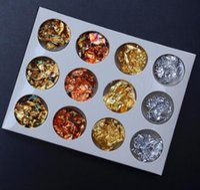 gel glitter 12 uv venda por atacado-12 pcs Prego de Ouro Da Arte Do Prego Glitter Foil Chip Floco Dicas Gel Polonês Design UV Transferência de Adesivo Decalque Manicure Tool Set