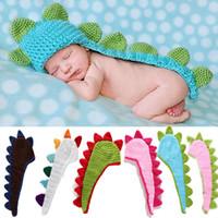 fotos de punto al por mayor-Bebé recién nacido Accesorios de fotografía Accesorios Sombrero de dinosaurio Material suave Punto Boy Girl Photo Prop Pictures Trajes Outfit
