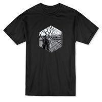 octagon preto venda por atacado-O t-shirt dos homens do octógono da cerca preto e branco