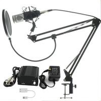 micrófono de choque al por mayor-Conjunto completo Micrófono Profesional BM800 Condensador KTV Micrófono Audio profesional Studio Grabación vocal Mic + Metal Shock Mount