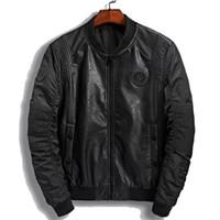 yüksek yaka pu deri ceket toptan satış-Yüksek Kalite Standı Deri Ceket Erkekler Yeni Marka Sonbahar Tasarımcı Moda Standı Yaka Pu Motosiklet Ceketler Yeşil Uçan Pilot Mont 3xl