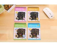 Wholesale Notebook Year - Scratch note Black cardboard Creative DIY draw sketch notes for kids toy notebook zakka material Coloring Drawing Note Book Supplies
