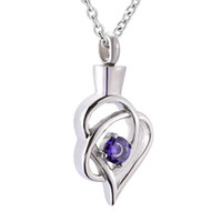 Wholesale flower memorial - IJD9936 Crystal flower cremation Urn Necklace Pendant Ash Holder Mini Keepsake Memorial Jewelry for women