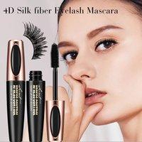 fazer ferramenta cachos venda por atacado-Mais novo 4D Silk fibra EyeLash Mascara Extensão Dos Cílios Maquiagem À Prova D 'Água de Alongamento de Ondulação Grossa Natural Mascara Maquiagem Ferramenta