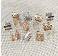 conector de corda venda por atacado-Ajustável cor prata crimp final beads bolsa cinta conector tubos jóias resultados cordão de couro colar cordas pulseira diy