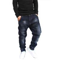 pantalones capri de algodón sueltos al por mayor-Hip Hop Pantalones vaqueros de jogging para hombre Pantalones de chándal Pantalones Vaqueros Elásticos de algodón Pantalones de mezclilla holgados sueltos Diseñador Hombres Ropa Tallas grandes 28-42