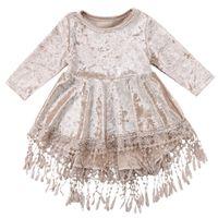 babys samt kleider großhandel-INS Baby Mädchen Gold Samt Kleid Kinder Quaste Langarm Prinzessin Kleider 2018 Herbst Mode Kinder Kleidung C5255