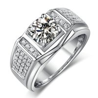Wholesale Men Ring Design Stone - Fashion Jewelry New Design Jewelry Men ring AAAAA zircon 5A Zircon stone 10KT White Gold Filled Engagement Wedding Band Ring