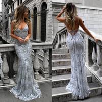 elbise payet satışı toptan satış-Sıcak Satış Gri Seksi Spagetti Sequins Eveing Elbise Derin V Yaka Gelinlik Modelleri Geri Dantel-Up Abiye Stokta Ücretsiz Kargo