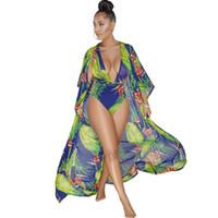 горячие женщины в бикини пляже оптовых-4 цвета горячие сексуальные боди женщины 2018 Мода 2 шт. бикини наборы v-образным вырезом цветочный принт комбинезоны пляжная одежда длинные макси пальто купальники