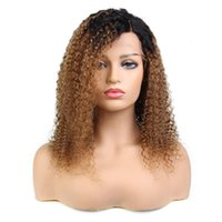 Wholesale virgin kinky curly ombre wig for sale - Full lace virgin wig aaaa fashion human hair with baby hair unprocessed remy long ombre color kinky curly for women