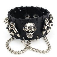 Wholesale Gothic Cuffs - Punk Rock Black Men Wide Leather Bracelets Gothic Skull Cuff Bangle Skeleton Bullet Charm Pulseiras Masculinas