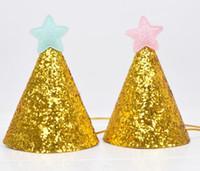 chapeaux de bébé pour les accessoires achat en gros de-Chapeau d'anniversaire paillettes d'or avec Star Party Baby Shower Decor Bandeau Photo Props enfants Party Decor