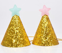 geburtstag hüte groihandel-Goldener Glitter-Geburtstags-Hut mit Stern-Party-Baby-Duschkultur-Stirnband-Foto-Requisiten Kinder-Party-Dekor