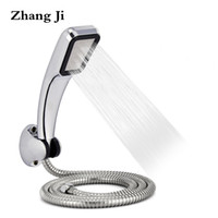 Wholesale high pressure hoses - ABS Holes Shower Head Set With Stainless Steel Hose And Plastic Shower Holder High Pressure Water Saving Hand ZJ026