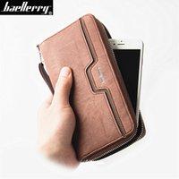Baellerry Men Wallets vintage genuine canvas Purse Coin Pocket Big Capacity  Male Clutch bag Card holder Wrist Strap phone Wallet 3886c99af2ee9