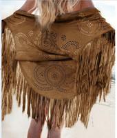 schnelles verschiffen lange mäntel großhandel-Trenchcoats Frauen Kleidung 2018 neue Herbst Wildleder Fransen Kimono Mantel Mode Frauen lange gestreifte Strickjacke dünne schnelle Versand