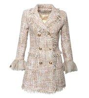 ingrosso giacche nobili di moda-Cappotto delle donne Lusso famoso marchio di moda Noble Banquet Sexy maglia tromba maniche nappe perla velluto Ladies personalizzato giacca OL vestito