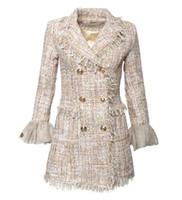 vestes de mode nobles achat en gros de-Femmes manteau luxe célèbre mode Marque Noble Banquet Sexy maille trompette manches glands perle velours dames Custom OL costume veste