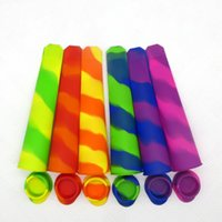 Wholesale mould holder resale online - Silicone Popsicle Mold Color Mixing DIY Mould With Cover Colors Non Conjoined Sleeve Ice Cream Tool bh V