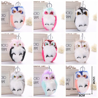Wholesale owl ring holder - 8Colors 15x8cm Fluffy Owl Cartoon Keychain Plush Phone Pendant Women Cute Key Ring Holder Faux Animal Fur Key Chains Backpack Keyring AAA680
