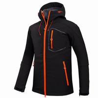kamp ceketi toptan satış-2017 Yeni Aktif erkekler Kabuk Ceket Kış Marka Yürüyüş Softshell Ceket Erkekler Yürüyüş Kamp Için Rüzgar Geçirmez Su Geçirmez Termal