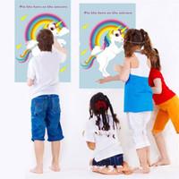 çocuklar oyunları ev toptan satış-Parti Sticker Malzemeleri Ev Oyunları Tek Boynuzlu at Pastası Gökkuşağı Boynuz Dekorasyon Şenlikli Olay Eğlenceli Çocuklar Doğum Günü 14ys V