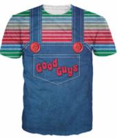 juguetes para chicos al por mayor-Camiseta de Halloween Chucky La camiseta de los hombres buenos malvados de la impresión 3d Camiseta de las mujeres / de los hombres camiseta de Harajuku Tops de la manera del verano más el tamaño U307