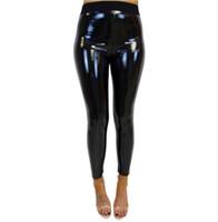 siyah deri gerdirme tozlukları toptan satış-2018 Yüksek Bel Kadınlar PU Deri Pantolon Streç Tayt Kalem Sıska Siyah Seksi Bayanlar Kadın Pantolon Q4