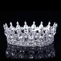 Wholesale bridal tiaras for sale - Sparkle Silver Headpieces Wedding Crown Alloy Bridal Tiara Baroque Queen King Crown Colorful rhinestone tiara and crown Cheap