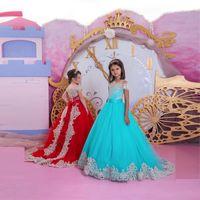 547ea8161007 Pizzo carino lungo abiti da spettacolo pageant sweep treno tulle appliqued  rosso blu bateau scollo fiore ragazza abito bambini prom abito da sposa