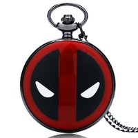 Wholesale Pocket Watch Hunter - Cool Deadpool Theme Pocket Watch Full Hunter Black & Red Design Case Men Women Quartz Pendant Clock Gift for Children with Necklace Chain
